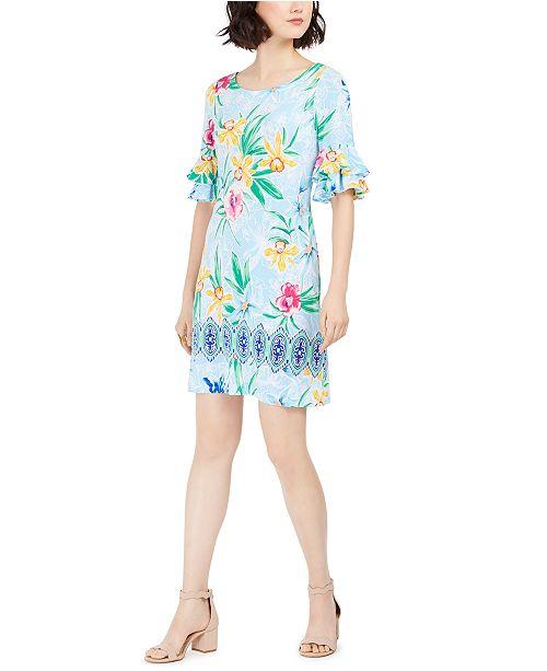 Pappagallo Printed Bell-Sleeve Shift Dress