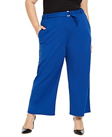 Plus Size Ring-Belt Pants