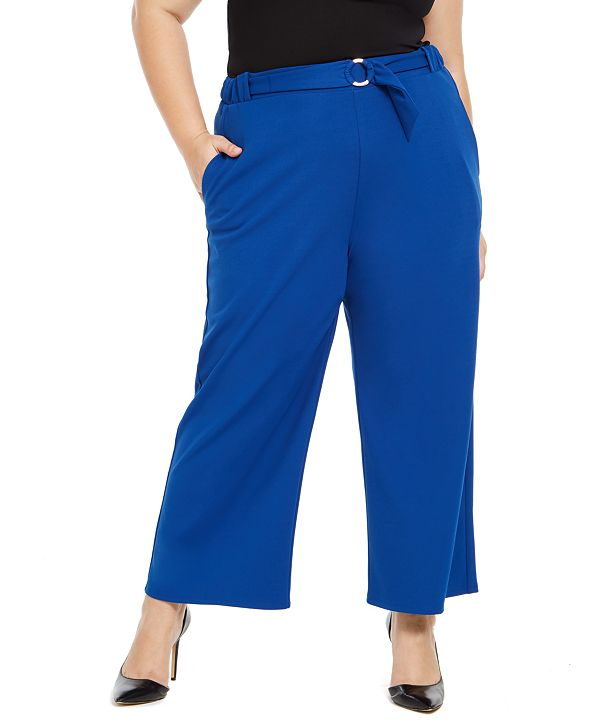 NY Collection Plus Size Ring-Belt Pants