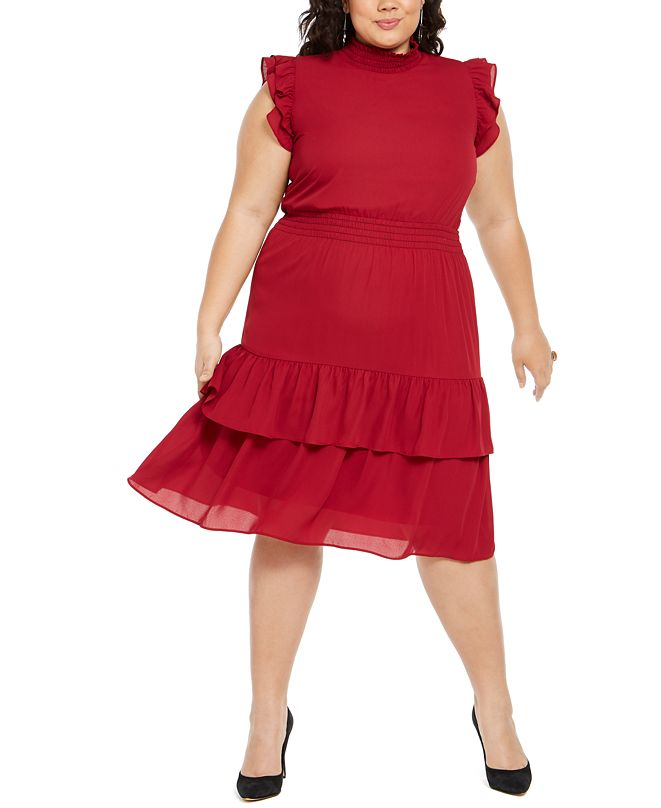 NY Collection Plus Size Smocked Mock-Neck Dress