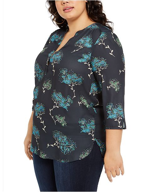 NY Collection Plus Size Floral-Print Henley Top