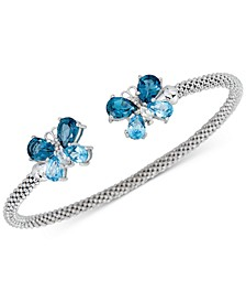 London Blue Topaz (3-1/5 ct. t.w.) & White Zircon (1/4 ct. t.w.) Butterfly Mesh Cuff Bracelet (2-3/8 ct. t.w.) in 14k Rose Gold-Plated Sterling Silver (Also in Amethyst)