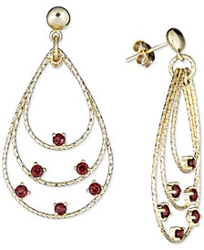 Rhodolite Garnet Triple Teardrop Drop Earrings (1-3/4 ct. t.w.) in 14k Vermeil over Sterling Silver