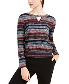 Juniors' Striped Banded-Hem Top