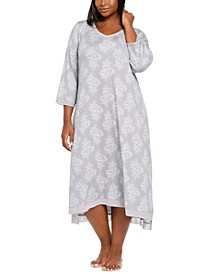 Plus Size Floral-Print Lace-Trim Nightgown, Created for Macy's