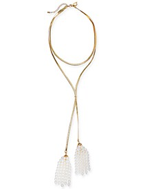 "Gold-Tone Imitation Pearl Tassel Lariat Necklace, 18+ 3"" extender, Created for Macy's"