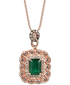 "Costa Smeralda Emerald (1-1/2 ct. t.w.) & Diamond (5/8 ct. t.w.) 18"" Pendant Necklace in 14k Rose Gold"