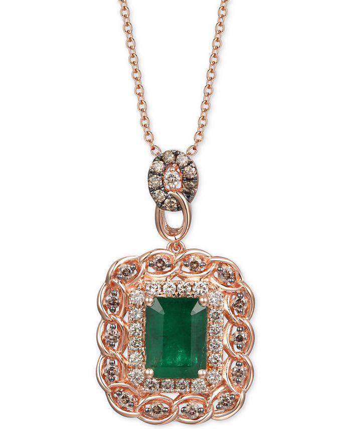 """Le Vian - Costa Smeralda Emerald (1-1/2 ct. t.w.) & Diamond (5/8 ct. t.w.) 18"""" Pendant Necklace in 14k Rose Gold"""
