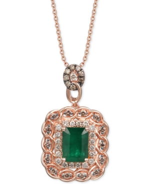 """Costa Smeralda Emerald (1-1/2 ct. t.w.) & Diamond (5/8 ct. t.w.) 18"""" Pendant Necklace in 14k Rose Gold"""