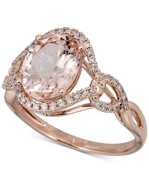Macy S Morganite 2 1 2 Ct T W Diamond 1 6 Ct T W Ring In