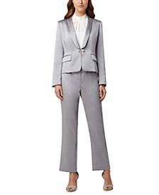 Petite Pearl-Button Jacket, Pearl-Trim Pleat-Neck Blouse & Straight-Leg Pants
