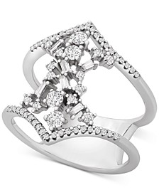 Diamond Scatter Cluster Double Band Statement Ring (1/2 ct. t.w.) in 10k White Gold