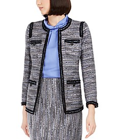 Contrast-Trim Tweed Jacket