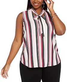 Plus Size Striped Tie-Trim V-Neck Blouse