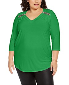 Plus Size Embellished-Shoulder Top