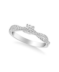 Diamond Twist Engagement Ring (3/8 ct. t.w.) in 14k Yellow, White and Rose Gold