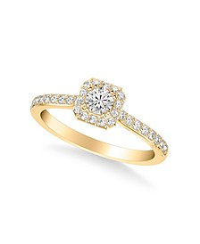 Diamond Halo Engagement Ring (1/2 ct. t.w.) in 14k White, Rose or Yellow Gold