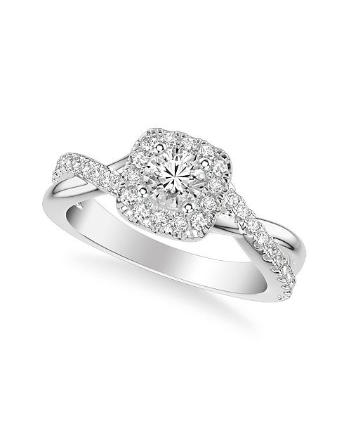 Macy's Diamond Halo Engagement Ring (7/8 ct. t.w.) in 14k White, Yellow or Rose Gold