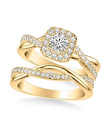Diamond Halo Bridal Set (1 ct. t.w.) in 14k White, Rose or Yellow Gold