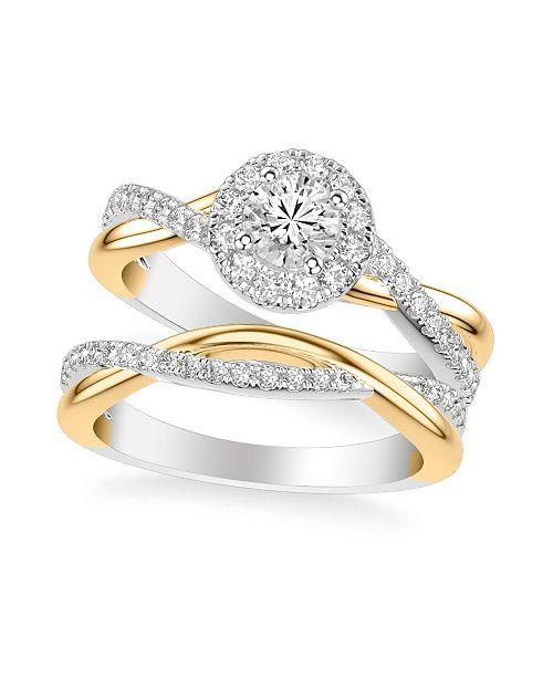 Macy's Diamond Halo Bridal Set (1 ct. t.w.) in 14k White & Yellow Gold or White & Rose Gold