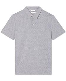 Men's Regular-Fit Diamond-Print Polo Shirt