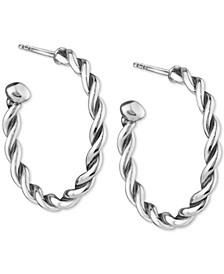 """Small Twist Hoop Earrings in Sterling Silver, 1"""""""