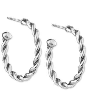 Small Twist Hoop Earrings in Sterling Silver