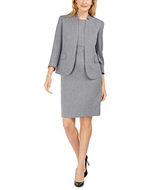 Cutaway-Collar Jacket & Heathered Twill Sheath Dress