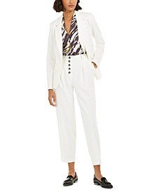 One-Button Jacket, Animal-Print Blouse & Pleated Pants, Created for Macy's