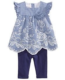 Baby Girls 2-Pc. Embroidered Gingham Top & Leggings Set