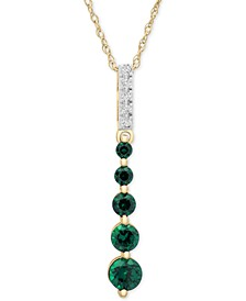 "Emerald (1/2 ct. t.w.) & Diamond Accent Graduated Linear 18"" Pendant Necklace in 14k Gold (Also in Sapphire & Certified Ruby)"