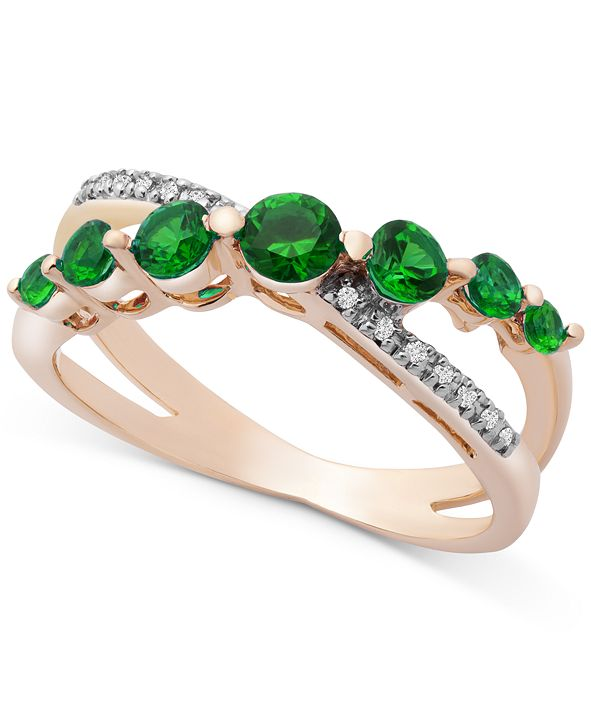 Macy's Emerald(5 c.t. t.w.) & Diamond (1/20 ct. t.w.) Crisscross Ring in 14k Gold (Also in Sapphire and Certified Ruby)