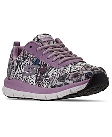 Women's Relaxed Fit Comfort Flex Happy Tails Athletic Work Sneakers from Finish Line