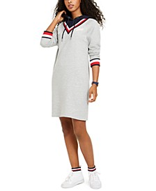 Layered-Look Hoodie Sweatshirt Dress