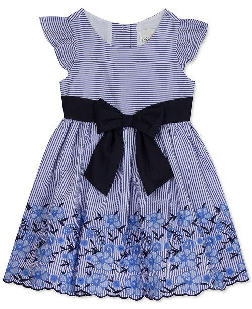 Rare Editions Toddler Girls Embroidered Bow Dress