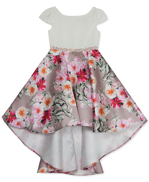Rare Editions Little Girls Lace & Floral-Print High-Low Dress
