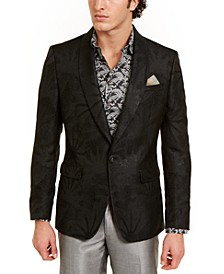 Orange Men's Slim-Fit Black Textured Tonal Starburst Evening Jacket