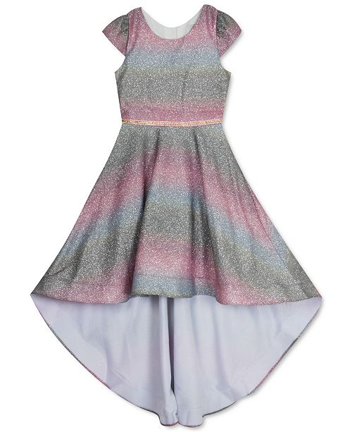 Rare Editions Little Girls Glitter Ombré High-Low Dress
