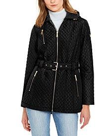 Quilted Hooded Belted Jacket
