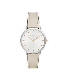 Womens Major Gray Leather Strap Watch 35MM