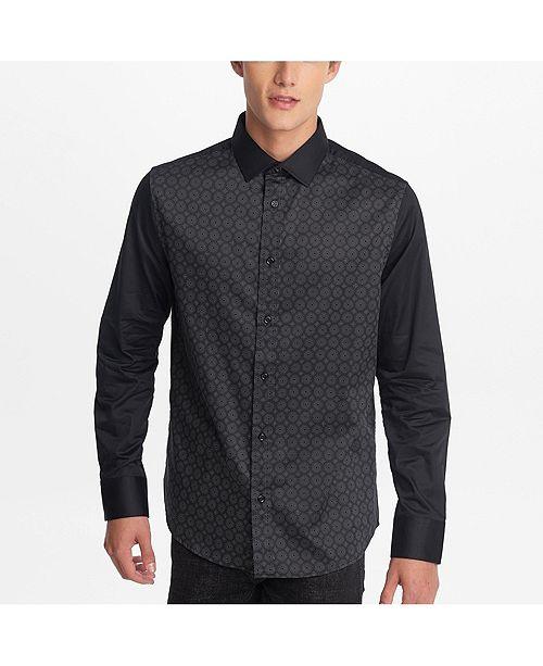Karl Lagerfeld Paris Men's Long Sleeve Printed Front Panel Button Down Shirt