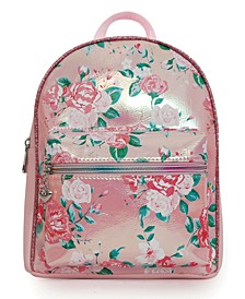 Rose Print Metallic Mini Backpack