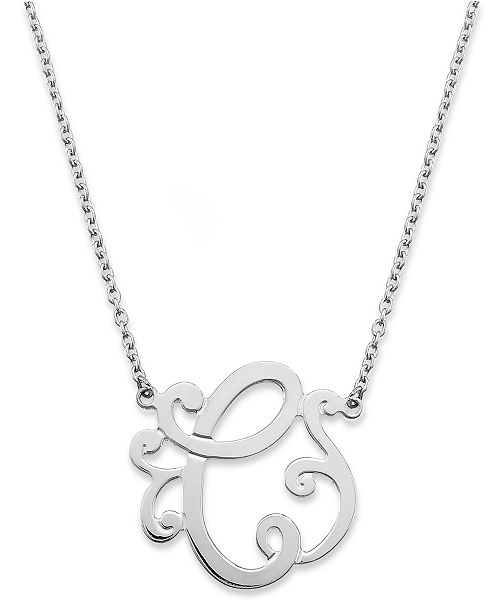 "Giani Bernini Sterling Silver Necklace, ""C"" Initial Pendant Necklace"
