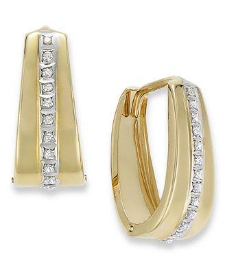 Macy S 14k Gold Earrings Diamond Accent Oval Hoop Earrings