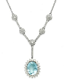 14k White Gold Necklace, Aquamarine (1-3/4 ct. t.w.) and Diamond (3/4 ct. t.w.) Lariat Necklace