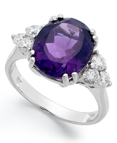 14k White Gold Ring, Amethyst (4-1/2 ct. t.w.) and Diamond (5/8 ct. t.w.) Oval Ring