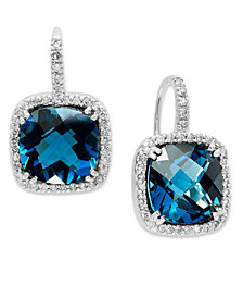 14k White Gold Earrings, London Blue Topaz (10 ct. t.w.) and Diamond (1/3 ct. t.w.) Leverback Earrings