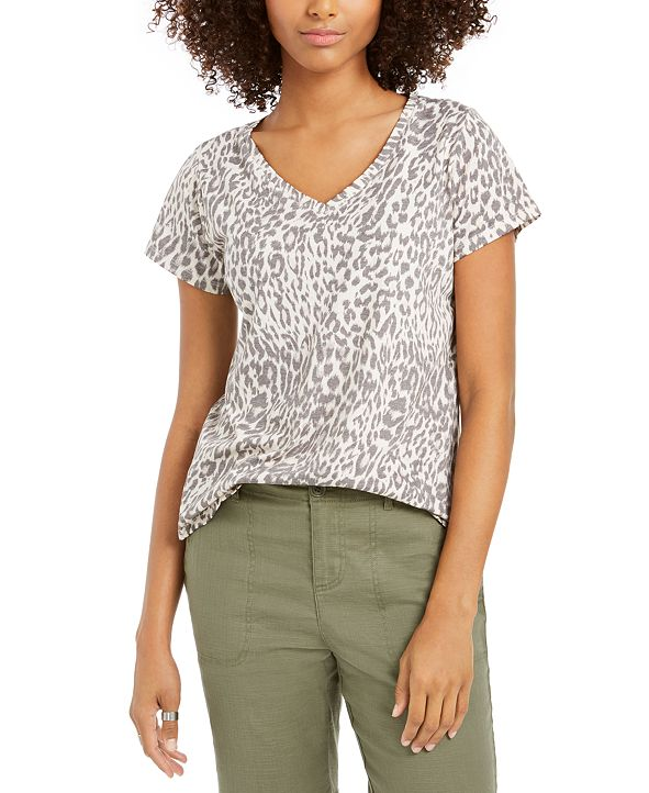 Style & Co Leopard-Print T-Shirt, Created for Macy's