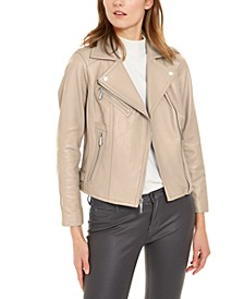 Leather Side-Strap Moto Jacket