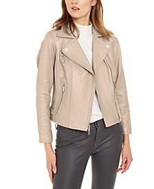 Michael Michael Kors Leather Side-Strap Moto Jacket